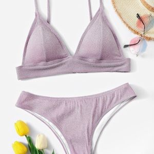 Purple sparkly two piece swimsuit💜